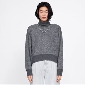 NWT Zara Contrast Mixed Media Turtleneck Sweater